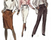 Misses Straight Skirt, Tapered Pants Sewing Pattern, Uncut Very Easy Very Vogue 7101, Fashionable Casual or Business, Sizes 12 14 16