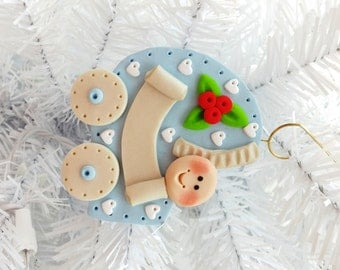 1st Christmas - Personalized Baby's First Christmas Ornament - Baby Boy First Christmas - Baby Shower Gift - Clay Baby Ornament - 113023