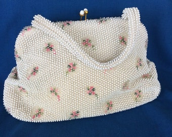 Sweet Vintage White and Pink Flowers Beaded Purse with Mirror Mad Men Rockabilly 50's Retro Atomic 60's