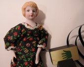 Small Bisque Doll, Lady in Brown Calico Dress, Blonde Hair, Unglazed China Porcelain