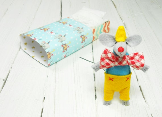 Stocking stuffers circus clown Carnival company party red nose felt miniature mouse matchbox red blue tiny animal white bow tie yellow hat