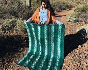 """Teal Green Tie Dye Vintage African Mud Cloth, 42"""" x 66"""" / Bogolanfini Textile from Mali, West Africa Textiles, African Blankets, Home Decor"""
