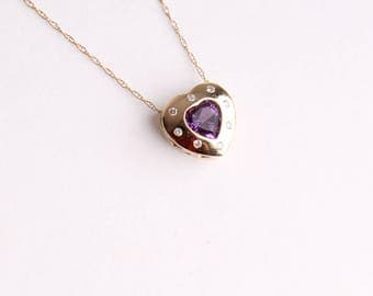 14k gold vintage diamond heart necklace purple amethyst gemstone pendant chain
