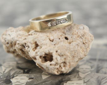 floating diamond + 10k gold band vintage art deco ring wedding eternity ring antique stackable stacking anniversary