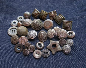 Unusual Lot of Vintage Silver Buttons and Findings