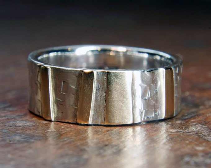 "6mm ""Woodland"" ring. Recycled sterling silver & 9ct or 18ct gold. Hand made in the UK."