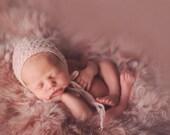 Rosewater Newborn Bonnet, RTS hand knit newborn bonnet, photo prop photography prop, soft handknit pale light pink blush rose, baby girl