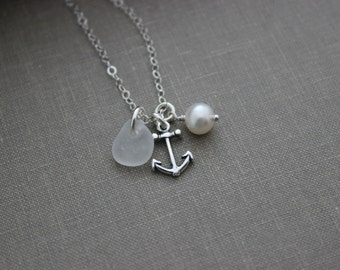 Charm Necklace with Sterling Silver Anchor, Sea Glass and White Freshwater Pearl, Wedding Bridesmaid Gift, Personalize, Choose Your Color