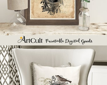 2 Printable Digital sheets LITTLE NEST to print on fabric or paper, transfer images for tote bags, t-shirts, pillows, home decor art ArtCult