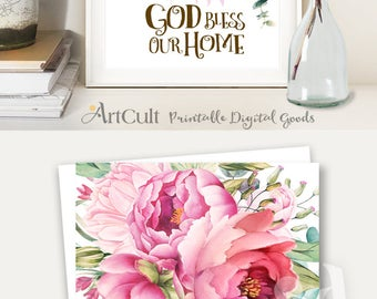 Printable Digital Download GOD BLESS Our HOME artwork print for home Decoration spiritual quote downloadable poster ArtCult printable design
