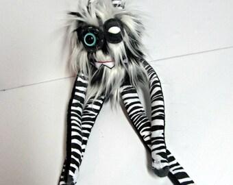 Monster Plush - Handmade Plush Monster - Black and White Faux Fur Toy - OOAK Monster Doll - Hand Embroidered Monster - Weird Plush Monster