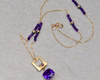 Amethyst Necklace. Purple Amethyst Geometric 14K Gold Filled Necklace. Gemstone Necklace. February Birthstone. Gift for Her. Fine Jewelry.