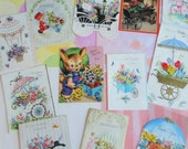 Flower Carts and Conveyances Full of Flowers in Vintage All Occasion Lot No 121 Hot Air Balloon Too Birthday Easter Anniversary Lot of 12
