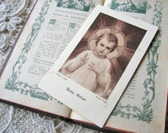 Antique French missal, prayer book with illustrations, Jeanne d'Arc card, praying card lot, In Memoriam card, Missal de Sainte Communion