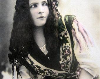 Antique French photo postcard, Antique stage artist RPPC, Antique theatre RPPC, Maggie Gauthier photo, French actress photo postcard
