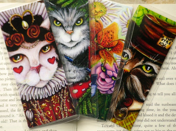 Alice in Wonderland Bookmark Set, Lewis Carroll Fantasy Cat Art Bookmarks