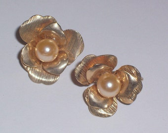 Vintage Clip On Earrings with Pearl Centers