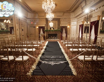 Aisle Runners, Wedding Aisle Runner, Custom Aisle Runner, Black Aisle Runner with Monogram on Quality Fabric that Won't Tear