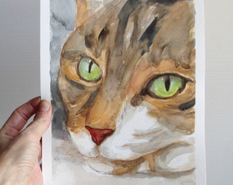 Calico cat  watercolor painting  art cat lover gift green eyes