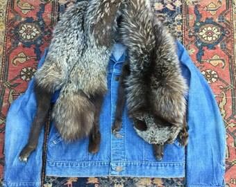 1930s Fox Fur Stole. Antique fur. Fox fur. Collar. Fur collar. Shrug. Bolero. 1930 30s. Taxidermy. Sold as-is glass eyes taxidermy eb