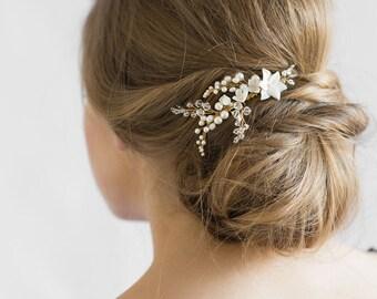 YVES | floral pearl bridal comb, bridal hair comb, bridal headpiece
