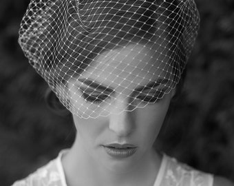 MARILYN | 12 Inch bridal birdcage veil, wedding veil, cage veil
