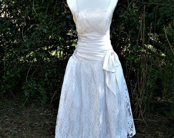 80s White Lace Dress size Small Glenrob Party Dress Prom Tea Length Wedding Dress
