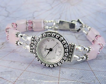 Rose Quartz and Pink Swarovski Crystal Bracelet Watch with Foldover Magnetic Clasp