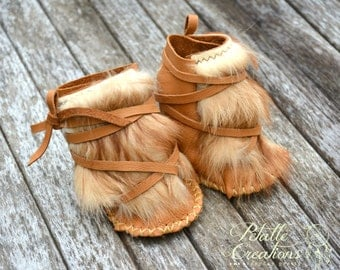 Baby Moccasin Boots,  Winter Mocassins, Baby Boots, Winter baby boots, Baby Mukluks, leather booties, Native boots, Yeti Boots, Baby gift