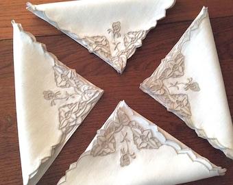 12 Madeira Linen Napkins Ecru Cutwork Embroidery 18 x 18