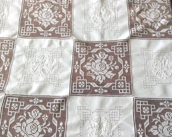 Square Army Navy Tablecloth Linen and Lace 50 Inches