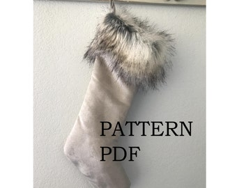 Updated Pattern - Instant Download Christmas Stocking PDF PATTeRN - Super easy - PDF sewing pattern and tutorial