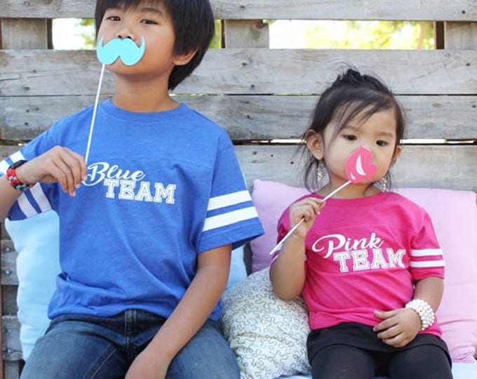 Featured listing image: Blue Team, Pink Team. 6mo - 3XL Team pink Team Blue Gender reveal shirts. Sibling shirts. Gender reveal ideas. Gender reveal party.