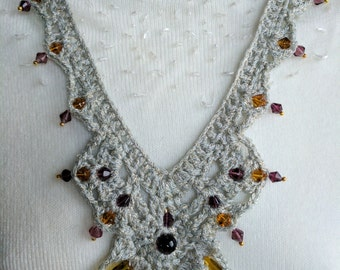 Crocheted Necklace in Fabulous Metallic Pale Sage Color Yarn with Brown Glass Beads