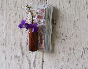 Mosaic Bud Vase Brown Bottle Hanging Vase