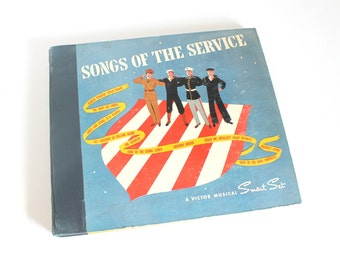 Vintage Songs of the Service Record Set 78 rpm World War II Victor Smart Set Home Wall Decor Fathers Memorial Day