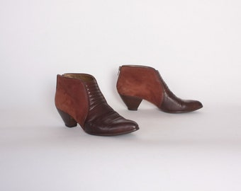 Vintage 80s ANKLE BOOTS / 1980s Dark Burgundy Leather & Suede Ankle Booties6