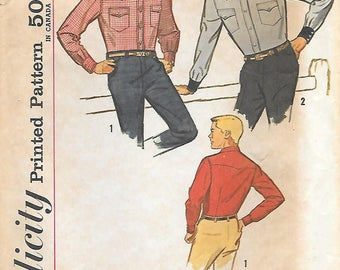 Simplicity 4703  1960s Vintage Mens Cowboys Shirt Sewing Pattern Chest 38 Neck 15