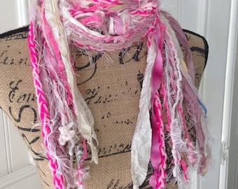 Scarf, Sari Silk, Skinny Scarf, Layered, Crochet, Knotted, Long Fuzzy Scarf, Tshirt Yarn, Pink, Hot Pink, Mauve, Cream,  Boho Gypsy Scarf