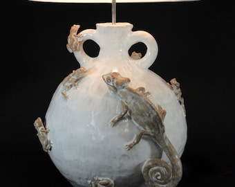 Ceramic Chameleon Lizard with Tree Frogs Lamp by Shayne Greco Beautiful Sculpture Pottery