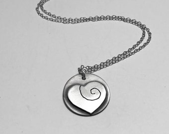 Sterling Silver Heart Charm Necklace with Ancient Spiral Symbol, Mothers Day Necklace, Silver Heart Pendant, Artistic Heart Necklace