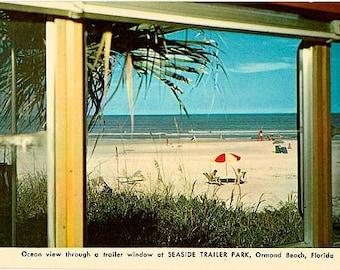 Vintage Florida Postcard - Ocean View from Seaside Trailer Park, Ormond Beach (Unused)