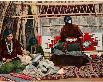 Vintage New Mexico Postcard - Navajo Women making a Navajo Rug (Unused)