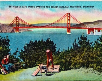 Vintage California Postcard - The Golden Gate Bridge and Golfing in San Francisco (Unused)
