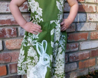 Hawaiin Bunny dress - vintage, handmade, tropical flowers in olive and cream with eco screenprinted bunny rabbit - toddler 2T
