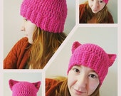 Kitty Hat - Newborn to Adult - Choose your Color - Made to Order