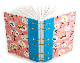 Pink and Blue Fan Journal, Kawaii Japanese Paper, Lay Flat Journal, great gift for a writer