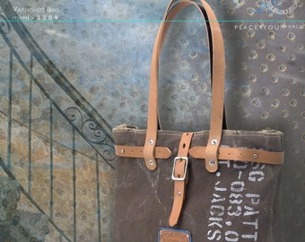 Brown Varnished Handbag, Distressed Shoulder Bag, Top Handle Bag, Varnish Coated Painted Bag, Recycled Postbag / Upcycled in Germany- 2209