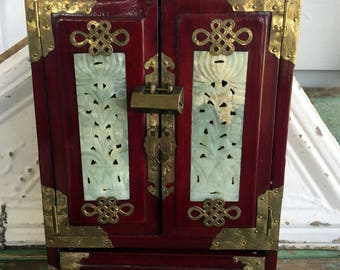"Vintage Chinese Jade Lacquered wood Asian Jewelry Box Chest Lock/key 12.5"" tall"