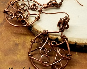 Bramble Circle Earrings Oxidized Copper Wire Wrapped